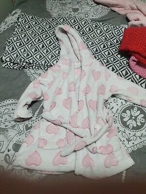 Girls Fluffy Hearts Dressing Gown Age 2-3