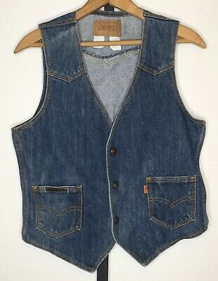 "Vtg Levis Orange Tab Denim Vest Mens Womens Yellow Stitch 34"" Chest Made in USA"