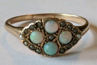 Antique Victorian 14K Solid Gold Opal Seed Pearl Ring Size 8