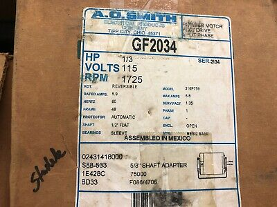 A O Smith GF2034 115 Volt 1/3 HP Belt drive blower Motor