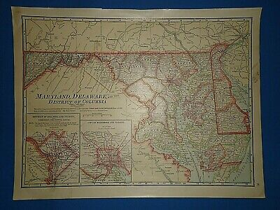 Vintage 1916 MARYLAND DELAWARE MAP Old Antique Original & Authentic Atlas Map