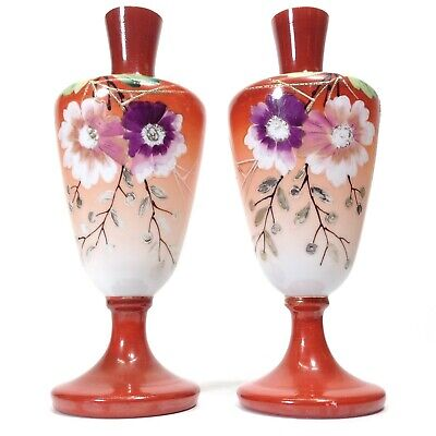 Antique Hand Painted Milk Glass Vases Pair