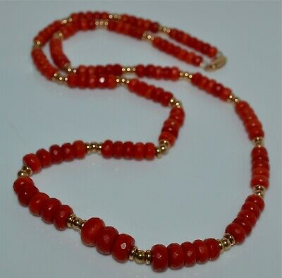 Old Mediterranean Coral Faceted Bead Necklace 14 Kt Gold Approx. 40 Gms