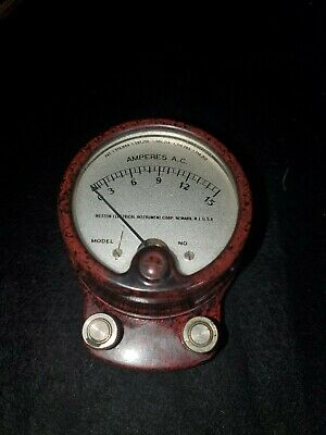 Rare Color Weston Electric Model 528 Ampere Meter Industrial Steam Punk WORKING