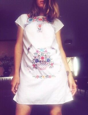 Mexican 70s Fred Bare Daisy Boho Embroidered Cotton Dress Girls Size 12 Women's