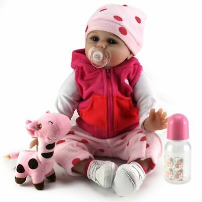 22'' New Reborn Girl Baby Dolls Realistic Vinyl Silicone Newborn Doll Kids Toy