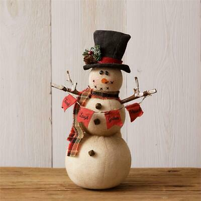"""New Primitive Country Rustic LARGE LIGHTED SNOWMAN DOLL Standing Figure 32/"""""""