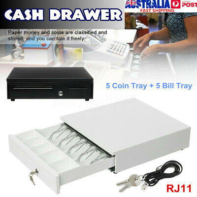 Cash Drawer Safe Box 5 Bill 5 Coin Tray For POS Printer Store Money Lock  me
