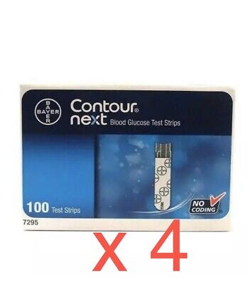 4 X BAYER CONTOUR NEXT Blood Glucose Test Strips 100 ( Total 400 Test Strips )