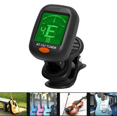 Compact Tiger Guitar Tuner Clip-On LCD Display for Guitar Ukulele Bass UK STCOK