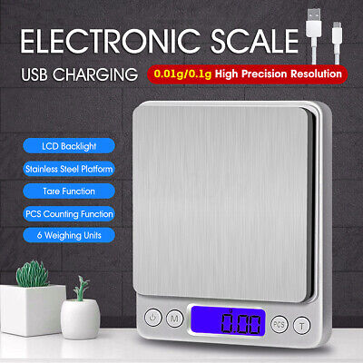 USB Charging LCD Digital Scale 0.01g Electronic Balance Weight Kitchen +2xTray
