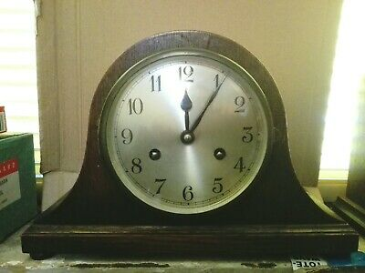 Vintage Oak Napoleon Hat Striking Mantel Clock Working Compact Superior Quality