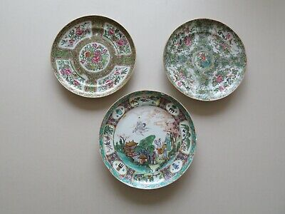 3 Antique Chinese Rose Medallion Mandarin Dishes 19Th Century Qing -- No Reserve