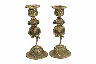 A pair of old brass Lincoln Imp candlesticks Grotesque Antique - Early 20th C