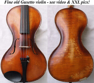RARE OLD GUSETTO VIOLIN - VIDEO - ANTIQUE GERMAN GUSETO バイオリン скрипка 小提琴 223