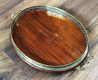 A late 19th/early 20th Century mahogany and brass galleried serving tray.