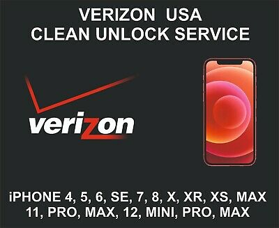 Verizon USA Clean Unlock Service, fits iPhone 5, 6, 7, 8, X, XR XS, 11, Pro, Max