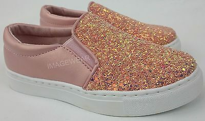 Girls Glitter Skate Pumps Kids Slip On Trainers Flat Plimsolls Shoes