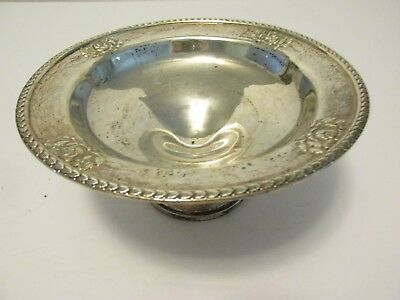 "Antique TOWLE STERLING SILVER 7"" COMPOTE DISH Leaf Edge ROSE Rim #482 Weighted"