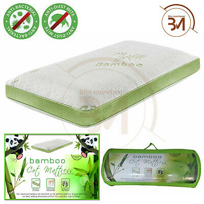 Kids Baby Toddler Bamboo Hypo Allergenic UK Cot Bed Mattress Removable Cover New