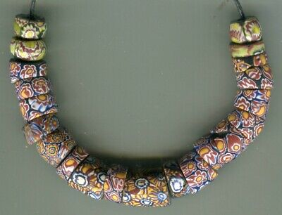 African Trade beads Vintage Venetian old glass beads mixed millefiori