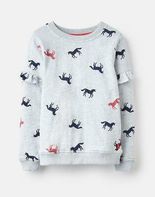 Joules Girls Tiana Frill Sleeve Sweatshirt - Grey Unicorn CLOSEOUT