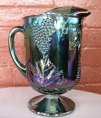 Indiana Glass Iridescent Blue Carnival Harvest Grape Footed 64 ounce Pitcher