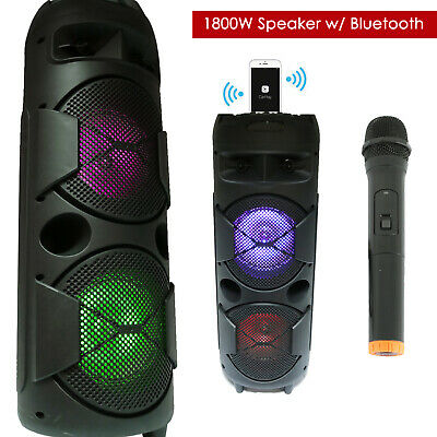 """DOUL 8"""" 1200 Watts Portable Powered DJ Speaker Works iPhone Bluetooth AUX USB SD"""
