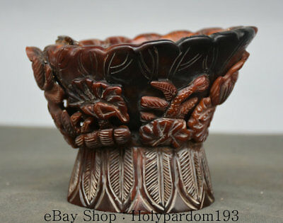 "4.8"" Marked Antique China Dynasty Ox Horn Hand Carved Lotus Flower Drinking Cup"