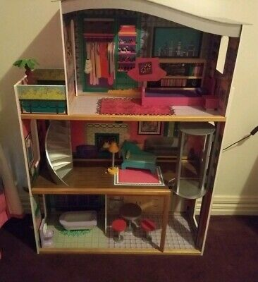 KidKraft Large Wooden Dolls House 3 Levels With Lift And Play Furniture~VGC