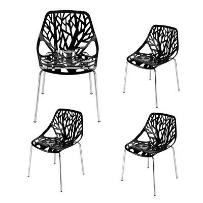 High Quality 4 PCS Modern Design Style Black Living Room Lounge Chairs NEW