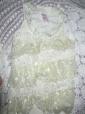 nwot Justice ivory sequin lace tiered ruffle sleeveless top girls 20 free ship U