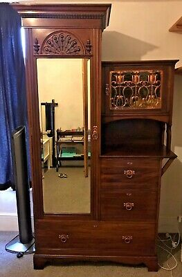 Shapland & Petter Wardrobe Art Nouveau Arts & Crafts C1890 Mahogany Copper