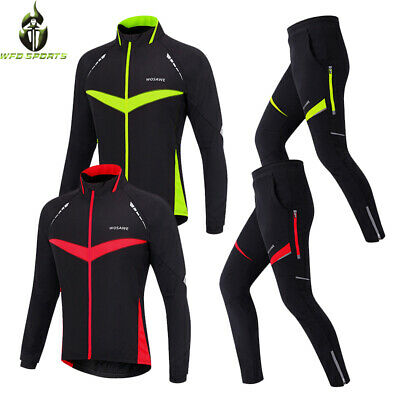 Men Cycling Jersey Pant Set Long Sleeve Windproof Thermal Top Waterproof Trouser