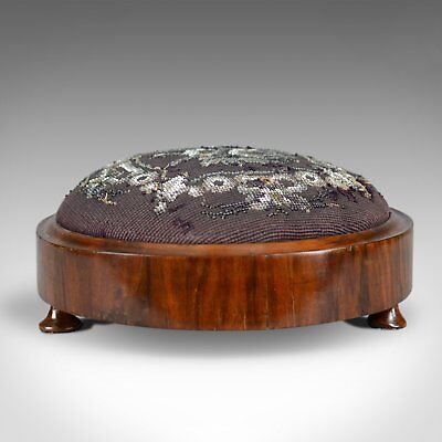 Antique Foot Stool, English, Victorian, Beadwork, Carriage Rest, Circa 1870