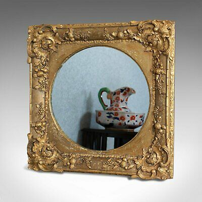 Antique Wall Mirror, English, Victorian, Gilt Gesso, Square, Circular Circa 1870