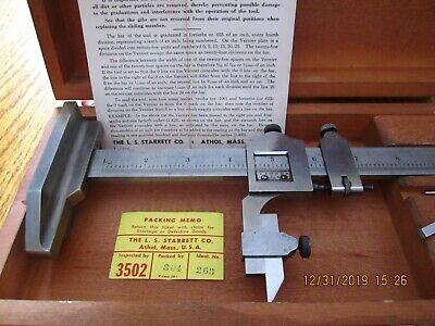 VINTAGE PRECISION MACHINIST TOOLS STARRETT VERNIER HEIGHT GAGE No 454 FITTED BOX
