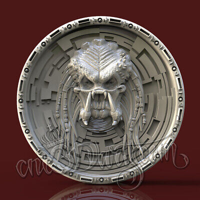 3D Model STL for CNC Router Artcam Aspire Alien Face Round Panel Cut3D Vcarve