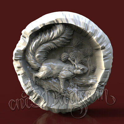 3D Model STL CNC Router Artcam Aspire Squirrel Tree Hunting Panel Cut3D Vcarve