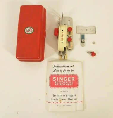 Vintage SINGER SEWING MACHINE BUTTONHOLE ATTACHMENT No.86718