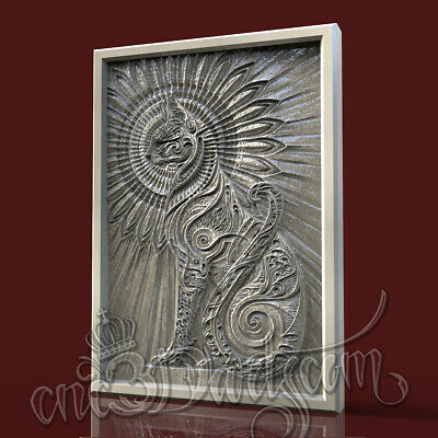 3D Model STL for CNC Router Artcam Aspire Demigod Cat Sphinx Panel Cut3D Vcarve
