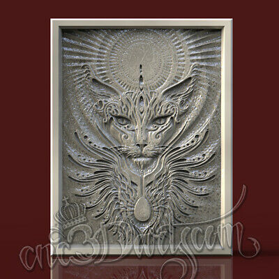 3D Model STL for CNC Router Artcam Aspire Egyptian Cat Sphinx Panel Cut3D Vcarve
