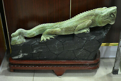 """19"""" Chinese 100% Jade Stone Carving Fengshui Animal Lizard lacertid Beast Statue"""