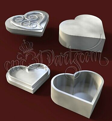 3D Model STL for CNC Router Artcam Aspire Heart Scroll Jewels Box Cut3D Vcarve