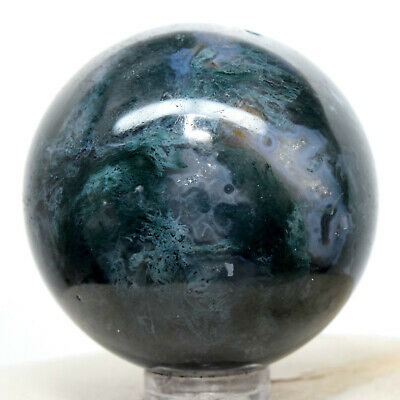 44mm Blue Green Moss Agate Sphere Natural Crystal Sparkling Mineral Stone India