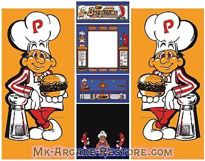 BurgerTime Side Art Arcade Cabinet Artwork Graphics Decals Full Set