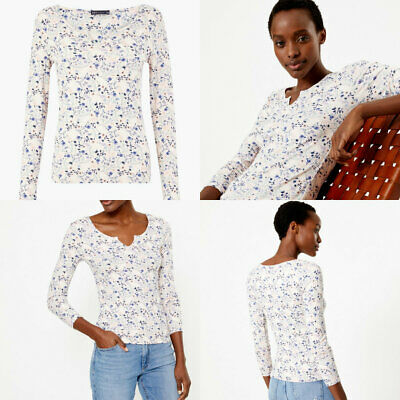 M&S Marks Spencer Women Pale Pink Ivory Ditsy Floral Long Sleeve Top Size 6 - 24