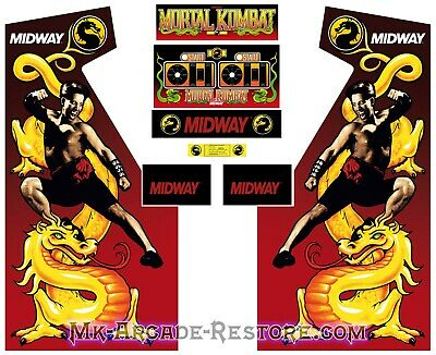 Mortal Kombat Side Art Arcade Cabinet Artwork Graphics Decals Full Set MK