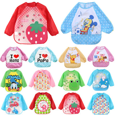 Baby Kid Toddler Cute Cartoon Print Feeding Bibs Long Sleeve Plastic Smock Apron