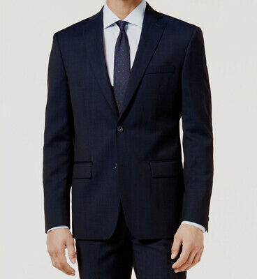 $650 Dkny 40S Men's Blue Wool Blazer Sport Suit Coat Textured Jacket *DAMAGED*